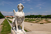 One of two large sphinxes standing guard<br />