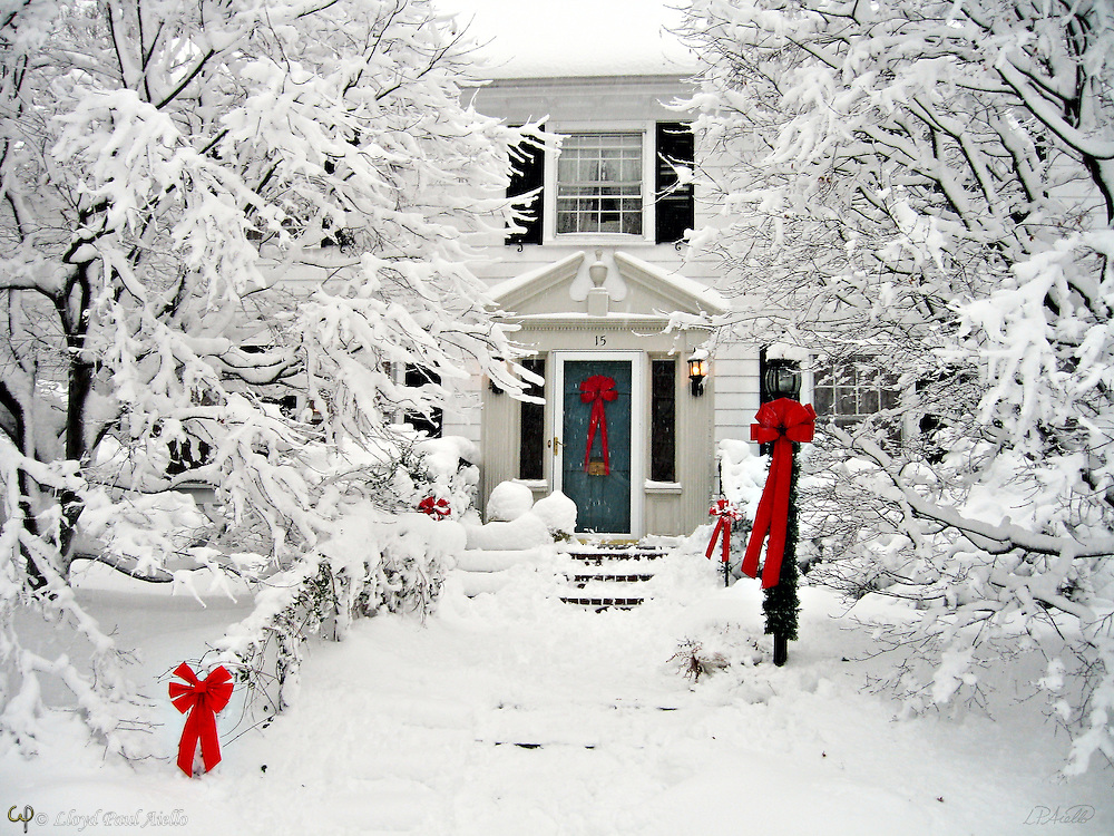 Holiday homecoming draped in a white blanket of snow for Christmas.