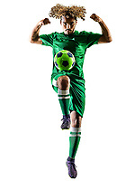 one mixed race young teenager soccer player man celebration  in silhouette isolated on white background