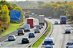 © Licensed to London News Pictures. 12/10/2018<br /> WROTHAM, UK.<br /> Traffic on the M26 at Wrotham Junction 2a.<br /> The M26 motorway in Kent is to be closed at night so it can be turned into a giant lorry park incase Britain leaves the EU with no deal. The M26 connects the M25 to the M20 towards Dover.<br /> Photo credit: Grant Falvey/LNP