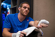 LAS VEGAS, NV - JULY 8:  Andrew Holbrook warms up in the locker room before The Ultimate Fighter Finale at MGM Grand Garden Arena on July 8, 2016 in Las Vegas, Nevada. (Photo by Cooper Neill/Zuffa LLC/Zuffa LLC via Getty Images) *** Local Caption *** Andrew Holbrook