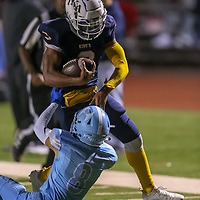 The King's Academy #3 Bralyn Lux vs Hillsdale in a Peninsula-Ocean Football Game at The King's Academy, Sunnyvale CA on 9/28/18. (Photograph by Bill Gerth)(TKA 47 Hillsdale 0)