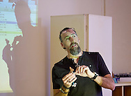 Middletown, New York  - Martin Dominguez Ball talks about stop-motion animation during a presentation at SUNY Orange on Oct. 14, 2014.