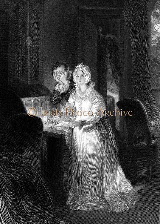 The Sleepwalker (Somnambulist) making discoveries her husband would rather she did not know. Engraving.