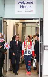 © Licensed to London News Pictures. 20/09/2016. London, UK. Team GB Paralympian Anne Dickens arrives at terminal 5 of London Heathrow Airport after flying on British Airways flight BA2016. Team GB finished second in the Paralympics medals table with 147 medals beating their total of 120 at London 2012. Photo credit : Tom Nicholson/LNP