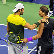 2019 US Open Tennis Tournament- Day Twelve. Winner Rafael Nadal of Spain is congratulated at the net by Matteo Berrettini of Italy in the Men's Singles Semi-Finals match on Arthur Ashe Stadium during the 2019 US Open Tennis Tournament at the USTA Billie Jean King National Tennis Center on September 6th, 2019 in Flushing, Queens, New York City.  (Photo by Tim Clayton/Corbis via Getty Images)