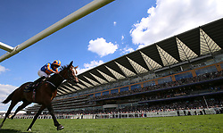 Jockey Ryan Moore on board Magic Wand wins the Ribblesdale Stakes during day three of Royal Ascot at Ascot Racecourse.