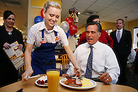 """Misti Weatherford serves Presidential candidate, Mitt Romney, the """"Presidential Special"""" during a campaign stop at the IHOP in Natomas, Ca., Thursday Sept. 27, 2007."""