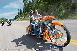 Jamie Denholm of Jamie's repair in Rapid City on the Legends Ride during the annual Sturgis Black Hills Motorcycle Rally.  SD, USA.  August 8, 2016.  Photography ©2016 Michael Lichter.