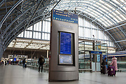 As the UK government urged that all Britons should avoid non-essential travel abroad in order to combat the Coronavirus pandemic in Britain, a panel gives departures information at St. Pancras rail station, the London terminus for Eurostar services to mainland Europe, on 17th March 2020, in London, England.