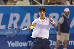 February 23, 2018 - Delray Beach, FL, United States - Delray Beach, FL - February 23: Hyeon Chung (KOR) loses 76(6) 46 75 to Francis Tiafoe (USA) during their quarter-finals match at the 2018 Delray Beach Open held at the Delray Beach Tennis Center in Delray Beach, Florida.   Credit: Andrew Patron/Zuma Wire (Credit Image: © Andrew Patron via ZUMA Wire)