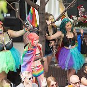 New York LGBT Pride Parade 2015, corner of Christopher Street and Gay Street, West Village