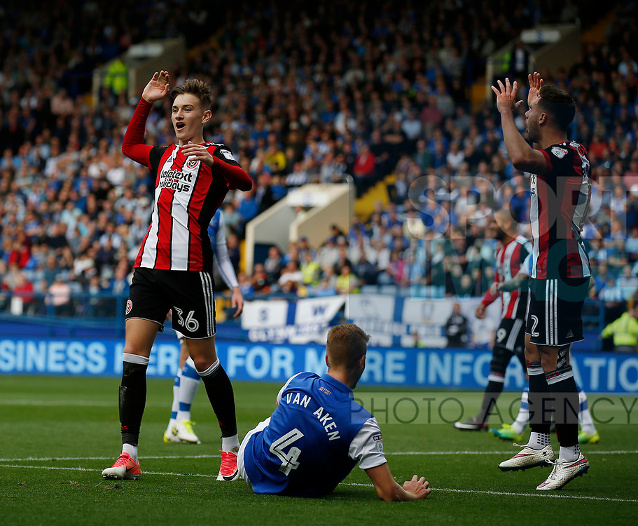 David Brooks of Sheffield Utd reacts after narrowly failing to score during the Championship match at the Hillsborough Stadium, Sheffield. Picture date 24th September 2017. Picture credit should read: Simon Bellis/Sportimage