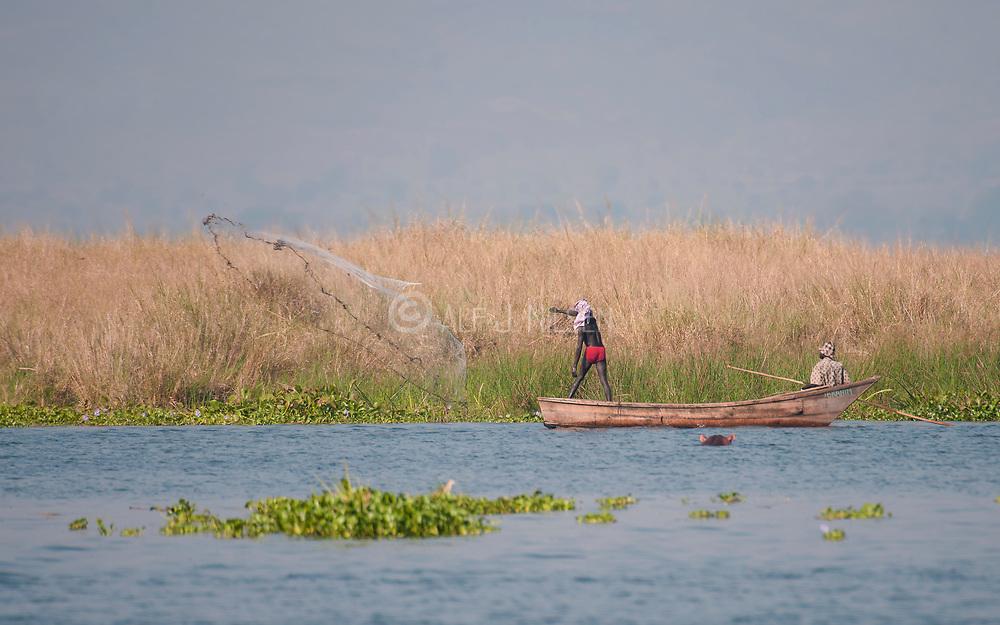 Local fisher men fishing by throwing their net in the Albert Nile, Uganda.