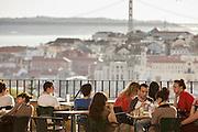 Esplanade at Graça Lookout in Lisbon.