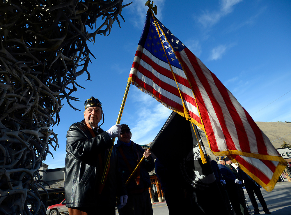 Korean War veteran and American Legion Post 43 member Larry North waits for the Veterans Day ceremony to begin at the Town Square on Monday. The federal holiday celebrates the service of our veterans and coincides with the end of World War I, formally ended at the 11th hour of the 11th day of the 11th month of 1918, when the Armistice with Germany went into effect.