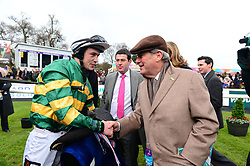 J J Slevin with owner JP McManus after winning the Nathaniel Lacy & Partners Solicitors Novice Hurdle during day one of the Dublin Racing Festival at Leopardstown Racecourse.