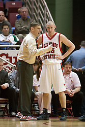 11 February 2006:  ..Coach Porter Moser speaks with Neil Plank...Illinois State Redbirds fall to the Bradley Braves at home in Redbird Arena in Normal Illinois.