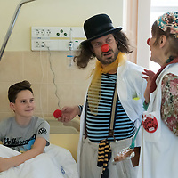 Clown doctors amuse young patients of the SOTE Child Clinic in Budapest, Hungary on May 13, 2019. ATTILA VOLGYI