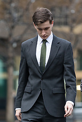 © Licensed to London News Pictures. 15/12/2017. London, UK. SAMUEL ARMSTRONG, former chief of staff to MP Craig Mackinlay arrives at Southwark Crown Court. Samuel Armstrong appears charged with two counts of rape and one count of sexual assault by penetration in relation to an attack that allegedly took place at the Houses of Parliament in October 2016. Photo credit: Vickie Flores/LNP