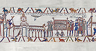 Bayeux Tapestry scene 26 :  Edward The Confessor's Corpes is carried to St Peters Church. BYX26 .<br /> <br /> If you prefer you can also buy from our ALAMY PHOTO LIBRARY  Collection visit : https://www.alamy.com/portfolio/paul-williams-funkystock/bayeux-tapestry-medieval-art.html  if you know the scene number you want enter BXY followed bt the scene no into the SEARCH WITHIN GALLERY box  i.e BYX 22 for scene 22)<br /> <br />  Visit our MEDIEVAL ART PHOTO COLLECTIONS for more   photos  to download or buy as prints https://funkystock.photoshelter.com/gallery-collection/Medieval-Middle-Ages-Art-Artefacts-Antiquities-Pictures-Images-of/C0000YpKXiAHnG2k