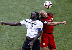 June 8, 2017 - Commerce City, Colorado, United States - Commerce City, CO - Thursday June 08, 2017: Kenwyne Jones and John Brooks battle during their 2018 FIFA World Cup Qualifying Final Round match versus Trinidad & Tobago at Dick's Sporting Goods Park. (Credit Image: © Timothy Nwachuku/ISIPhotos via ZUMA Wire)