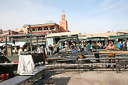 Setting up tables for food stalls, Place Jema al-Fna, Marrakech, Morocco, north Africa