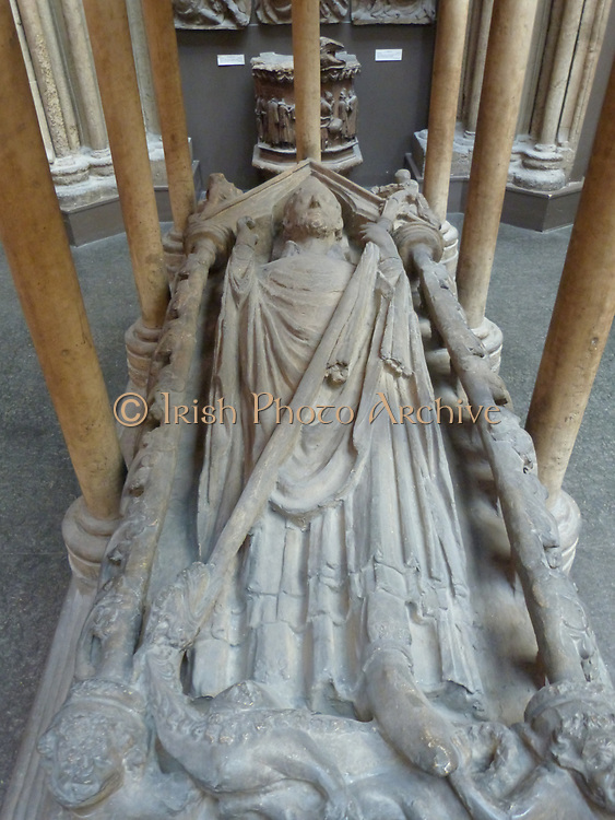 Plaster cast, Monument in stone, of Walter Grey, Archbishop of York (1216-1255), in the south transept of York Minster; middle of the 13th century.