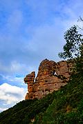 La Cadireta, morro de gos. La Roca Foradada, Las Agulles, Montserrat, mountain, Catalonia