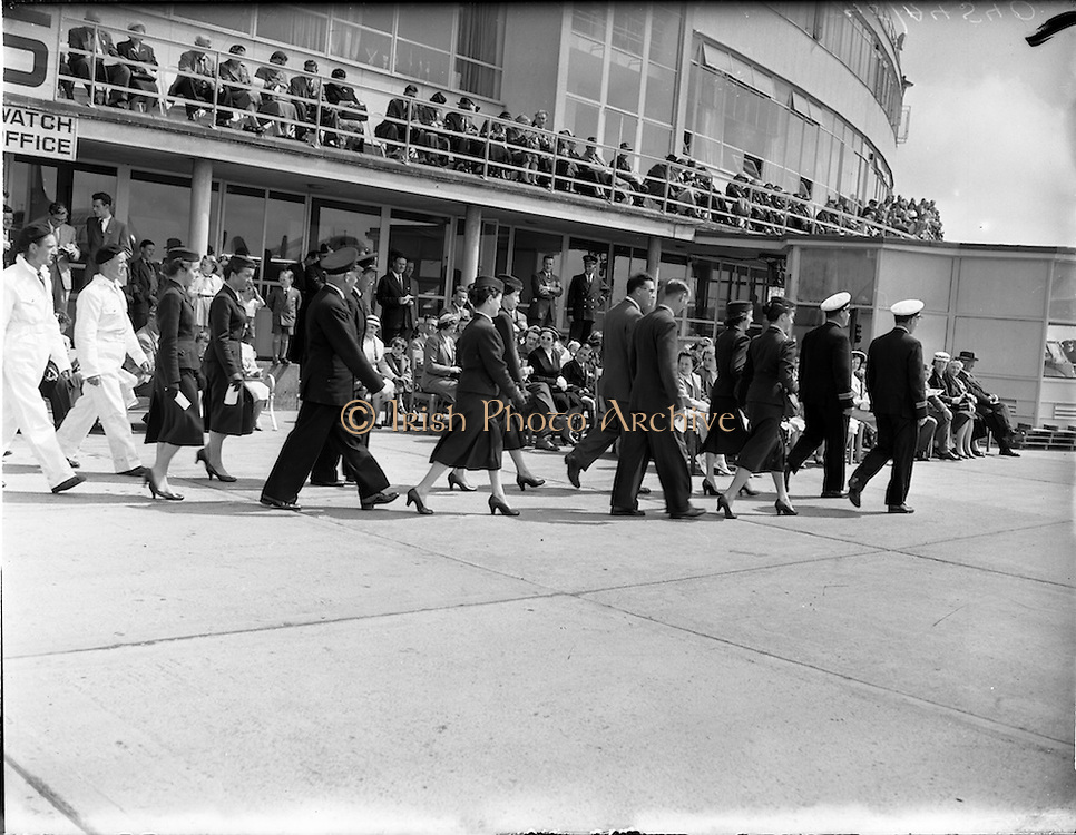 27/05/1956<br /> 05/27/1956<br /> 27 May 1956<br /> Blessing of the Aer Lingus fleet at Dublin Airport. Procession of staff from the terminal to the runway.
