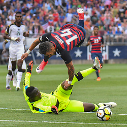 July 1, 2017: East Hartford, Connecticut, U.S. - DOM DWYER (14) of USA is upended during an international friendly against Ghana at Pratt & Whitney Stadium. (Credit Image: © Gregory Vasil/CSM via ZUMA Wire)