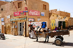 Donkey and cart in a street scene in Mhamid, Morocco<br /> <br /> (c) Andrew Wilson | Edinburgh Elite media