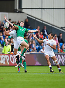 England full-back Max Malins competes for a high ball with Ireland centre Shane Daly during the World Rugby U20 Championship Final   match England U20 -V- Ireland U20 at The AJ Bell Stadium, Salford, Greater Manchester, England onSaturday, June 25, 2016. (Steve Flynn/Image of Sport)
