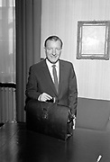 Minister for Finance, Charles Haughey, prepares to administer some belt-tightening measures on Budget Day.<br /> 23.04.1968