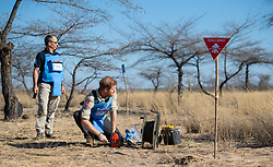 The Duke of Sussex remotely detonates a landmine as part of a visit to a minefield in Dirico, Angola, during a visit to see the work of landmine clearance charity the Halo Trust, on day five of the royal tour of Africa.