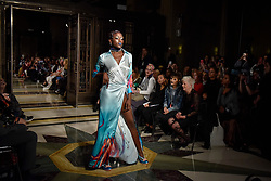 © Licensed to London News Pictures. 15/09/2017. London, UK. A model presents a look by Michaela Frankova at Fashion Scout in Covent Garden, one of the many venues hosting London Fashion Week SS18.  Photo credit : Stephen Chung/LNP