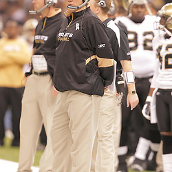 2008 October, 12: New Orleans Saints Head Coach Sean Payton on the sideline during a week six regular season game between the Oakland Raiders and the New Orleans Saints at the Louisiana Superdome in New Orleans, LA.