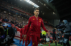 LIVERPOOL, ENGLAND - Wednesday, March 11, 2020: Liverpool's Roberto Firmino walks out before the UEFA Champions League Round of 16 2nd Leg match between Liverpool FC and Club Atlético de Madrid at Anfield. (Pic by David Rawcliffe/Propaganda)