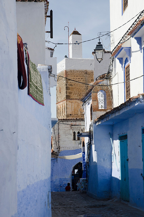 An empty alleyway in Chefchaouen's medina, Morocco