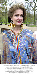 Former debutante LADY LINDA VANE PERCY at a fashion photo call in London on 15th April 2002.OYX 44