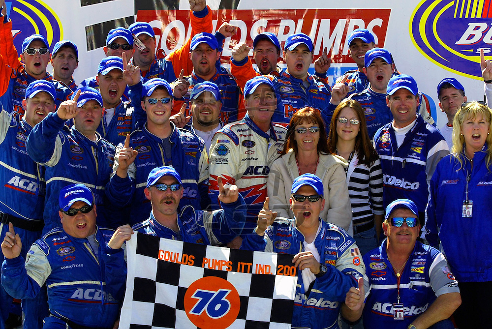 Ron Hornaday wins for the first time since August, 2000 at the Goulds Pumps ITT Industries 200 NASCAR Busch Grand National race at the Nazareth Speedway in Nazareth, Pennsylvania.