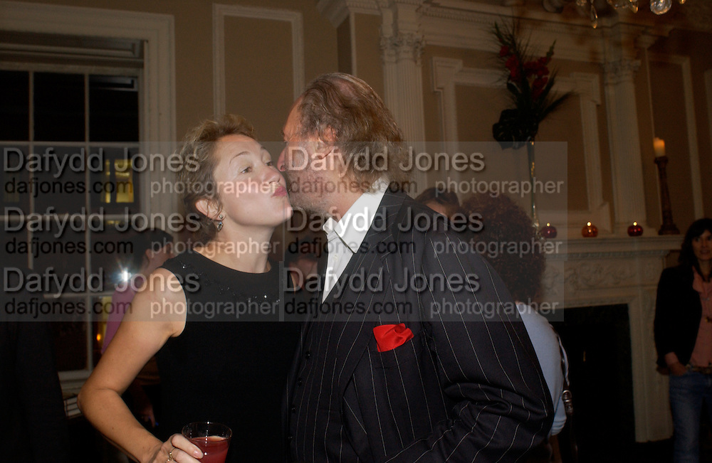 Justine Picardie and Ed Victor, Book launch of Truth or Dare,  edited by Justine Picardie. House of St. Barnabus. Sales of the book at the launch went towards Breast  Cancer  Care. Greek St. London. 30 September 2004. SUPPLIED FOR ONE-TIME USE ONLY-DO NOT ARCHIVE. © Copyright Photograph by Dafydd Jones 66 Stockwell Park Rd. London SW9 0DA Tel 020 7733 0108 www.dafjones.com