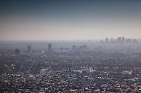 Looking across the LA skyline from the CBD towards Santa Monica.