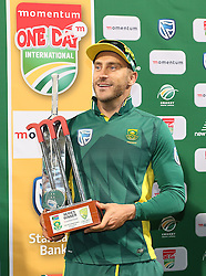 South African captain Faf du Plessis with the series trophy after winning the series 5-0 during the 5th ODI match between South Africa and Australia held at Newlands Stadium in Cape Town, South Africa on the 12th October  2016<br /> <br /> Photo by: Shaun Roy/ RealTime Images