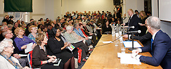 """Age UK <br /> Mayor of London election Hustings meeting at Quakers' Friend's Meeting House, London, Great Britain <br /> 21st February 2012<br /> <br /> Subject of the meeting was """"Age UK London raises the voice and champions the needs of older Londoners"""". This was the first hustings in the 2012 London Mayoral election. <br />  <br /> <br /> Boris Johnson - Mayor of London <br /> Ken Livingstone - Labour candidate<br /> Brian Paddick - Lib Dem candidate <br /> and an audience made up of elderly Londoners.<br /> <br /> Photograph by Elliott Franks"""