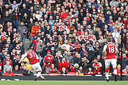 Sead Kolasinac of Arsenal (L) scores his team's first goal. Premier league match, Arsenal v Swansea city at the Emirates Stadium in London on Saturday 28th October 2017.<br /> pic by Steffan Bowen, Andrew Orchard sports photography.