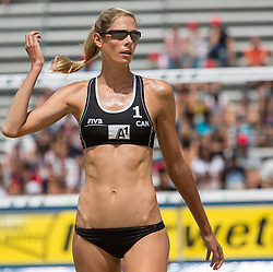 30.07.2014, Klagenfurt, Strandbad, AUT, A1 Beachvolleyball Grand Slam 2014, im Bild Sarah PAVAN 1 CAN // during the A1 Beachvolleyball Grand Slam at the Strandbad Klagenfurt, Austria on 2014/07/30. EXPA Pictures © 2014, EXPA Pictures © 2014, PhotoCredit: EXPA/ Mag. Gert Steinthaler