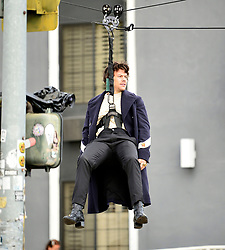 Harry Styles films a Christmas special edition for James Cordens carpool karaoke show as he is seen singing whilst flying across the street in Los Angeles. 20 Nov 2019 Pictured: Harry Styles. Photo credit: MEGA TheMegaAgency.com +1 888 505 6342