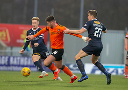 Dundee United's Calum Butcher and Falkirk's Mark Waddington. hafl time : Falkirk 0 v 0 Dundee United, Scottish Championship game played 23/2/2019 at The Falkirk Stadium.