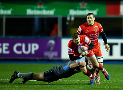 George Worth of Leicester Tigers is tackled by Scott Andrews of Cardiff Blues<br /> <br /> Photographer Simon King/Replay Images<br /> <br /> European Rugby Challenge Cup Round 2 - Cardiff Blues v Leicester Tigers - Saturday 23rd November 2019 - Cardiff Arms Park - Cardiff<br /> <br /> World Copyright © Replay Images . All rights reserved. info@replayimages.co.uk - http://replayimages.co.uk